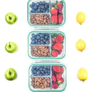 Glass Storage Containers with Lids - Divided Lunch Containers Food Container
