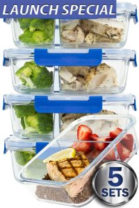 LARGER PREMIUM 2 Compartment Glass Meal Prep Containers with Lifetime Lasting Snap Locking Lids